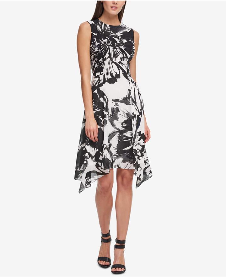 DKNY Printed Handkerchief-Hem Dress
