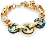 Akola 10K Yellow Goldplated, Abalone & Horn Chain Link Bracelet