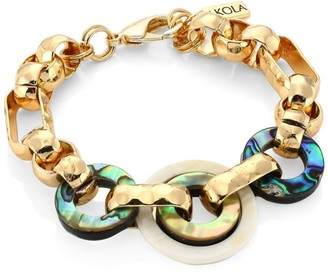Akola 10K Yellow Goldplated, Abalone & Horn Chain Link Bracelet
