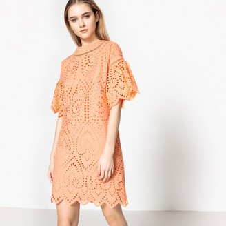 La Redoute Collections Cotton Shift Dress with Broderie Anglaise Detail
