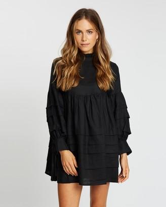 AERE - Women's Black Mini Dresses - Pleat Detail Linen Smock Dress - Size 6 at The Iconic