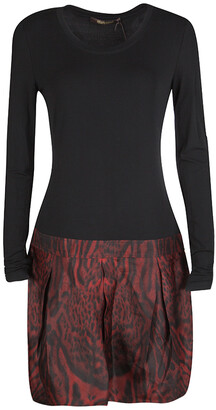 Roberto Cavalli Colorblock Long Sleeve Animal Print Skirt Detail Dress M