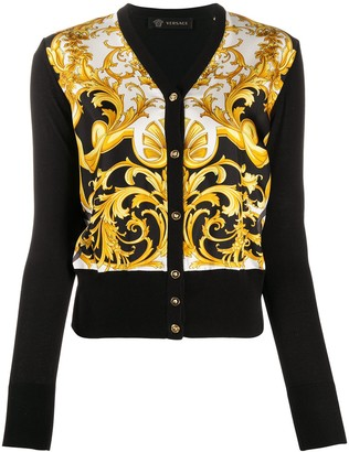 Versace Baroque-Print Silk And Cotton-Blend Cardigan
