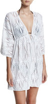 Milly Ava Floral Crochet Tunic Coverup Dress, White