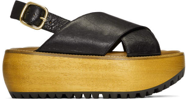 Marni Black Nappa Platform Sandals