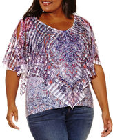 ONE WORLD APPAREL One World Apparel Short Sleeve V Neck Woven Blouse-Plus