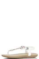 Quiz White Rope Strap Diamante Detail Sandals