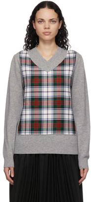 Comme des Garçons Shirt Grey Wool Plaid V-Neck Sweater