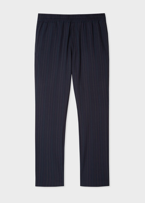 Paul Smith Men's Navy Pinstripe Wool-Stretch Trousers With Elasticated Waistband