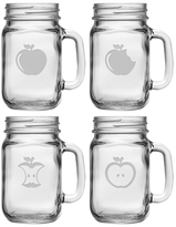 Eat An Apple Assorted Handled Drinking Jars (Set of 4)