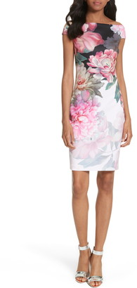 Ted Baker Emly Painted Posie Off the Shoulder Sheath Dress