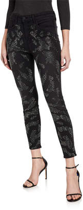 L'Agence Margot High-Rise Skinny Ankle Jeans with Crystal Leopard Spots