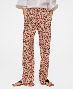 MANGO Women's Flower Print Pants