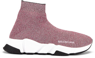 Balenciaga Bicolor Speed Sneakers in Pink & White & Black | FWRD