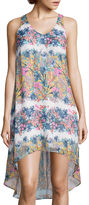 Fire Sleeveless Print Chiffon High-Low Dress- Juniors