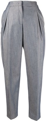 Agnona High-Rise Straight-Leg Cropped Trousers