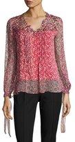 Elie Tahari Brunella Floral-Print Lace-Yoke Silk Blouse, Multi
