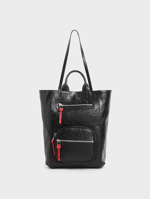 Charles & Keith Wrinkled-Effect Double Top Handle Tote