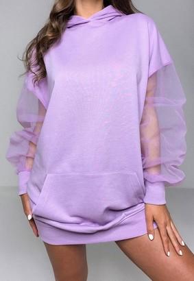 Missguided Lilac Mesh Sleeve Hoodie Dress