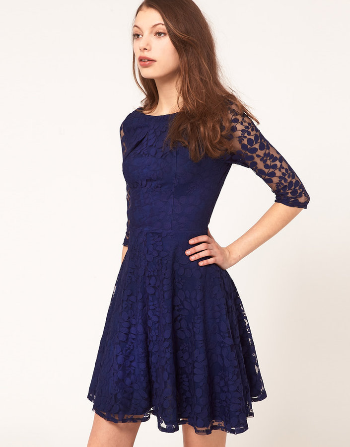 Asos Lace Mini Dress with Skater Skirt