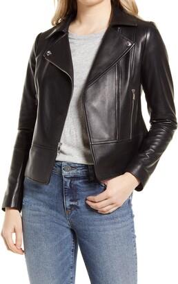 Peplum Lambskin Leather Moto Jacket