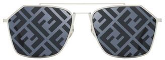 Fendi 56MM Hexagonal Logo Sunglasses