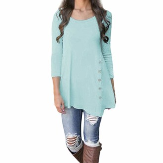 ReooLy Women Long Sleeve Loose Button Trim Blouse Solid Color Round Neck Tunic T-Shirt Blue