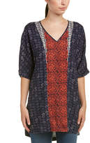 Glam Stamped Print V-Neck Tunic