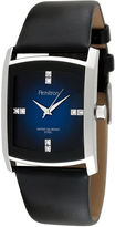 JCPenney Armitron Mens Black Leather Blue Degrade Watch