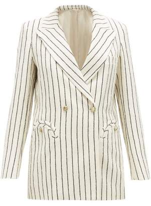 BLAZÉ MILANO Everyday Double-breasted Striped Boucle Jacket - Womens - White Black