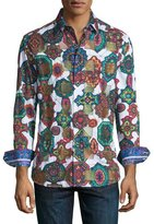 Robert Graham Prancer Mosaic Kaleidoscope Sport Shirt, White