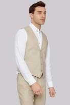 Moss Bros Tailord Fit Stone Linen Waistcoat