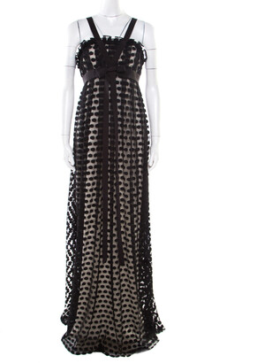 Marchesa Black Polka Dotted Tulle Bow Detail Gown M