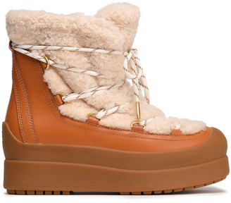 Tory Burch Courtney 60mm Rubber-trimmed Shearling Ankle Boots