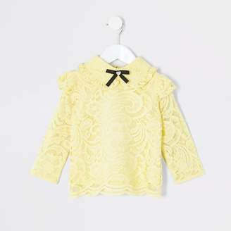 River Island Mini girls Yellow lace bow collar blouse