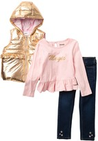 Hudson Jeans 3-Piece Puffer Vest Set (Toddler Girls)