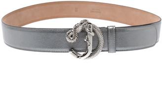 Roberto Cavalli Metallic Silver Leather Snake Buckle Belt 95CM