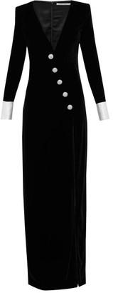 Alessandra Rich Crystal-embellished Velvet Gown - Womens - Black