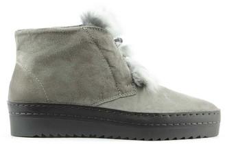 Daniel Marcia Grey Suede Fur Trim Sporty Ankle Boot