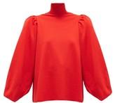 Balenciaga Puffed-shoulder High-neck Wool-blend Sweater - Womens - Red