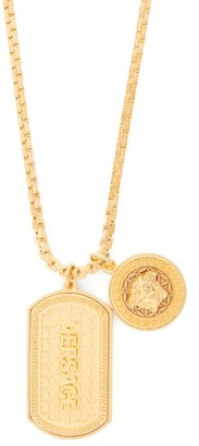 Versace Medusa And Dog Tag Charm Necklace - Mens - Gold