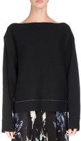 Proenza Schouler Off-Shoulder Double-Face Cashmere Sweater, Black/Blue