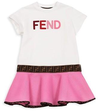 Fendi Little Girl's & Girl's Short-Sleeve Logo Dress