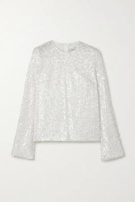 Galvan Sequined Metallic Tulle Top - White
