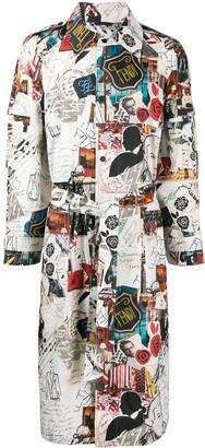 Fendi printed long-line trench coat