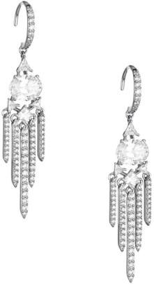 Adriana Orsini Rhodium-Plated Sterling Silver Cubic Zironia Chandelier Earrings