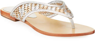 Salt+Umber Footwear Mykonos Woven Metallic Thong Sandals