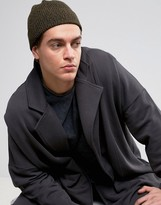 Asos Fisherman Beanie In Khaki And Black Twist