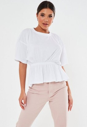 Missguided Petite White Cinched Waist Jersey T Shirt