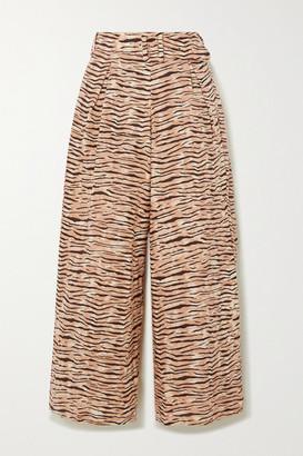 Faithfull The Brand + Net Sustain Lena Tiger-print Linen Wide-leg Pants - Taupe
